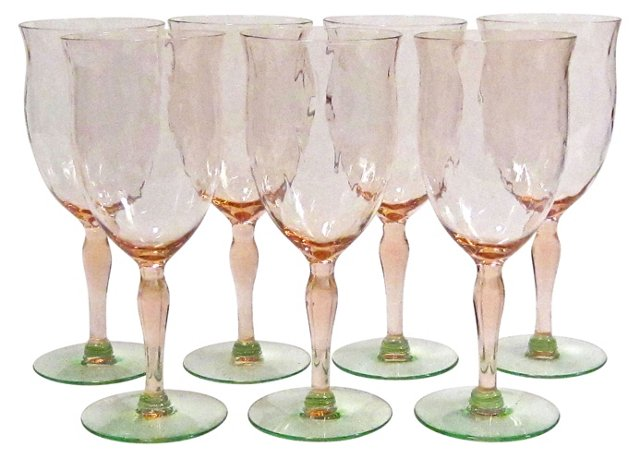 Pink & Green Goblets, S/7