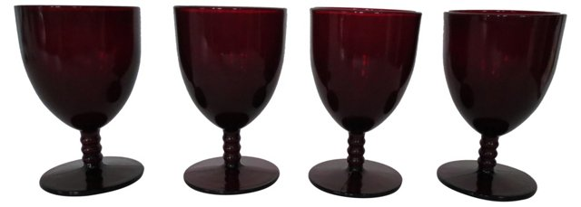 Ruby Red Goblets, S/4