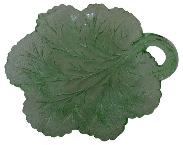 Depression Glass Leaf Serving Bowl