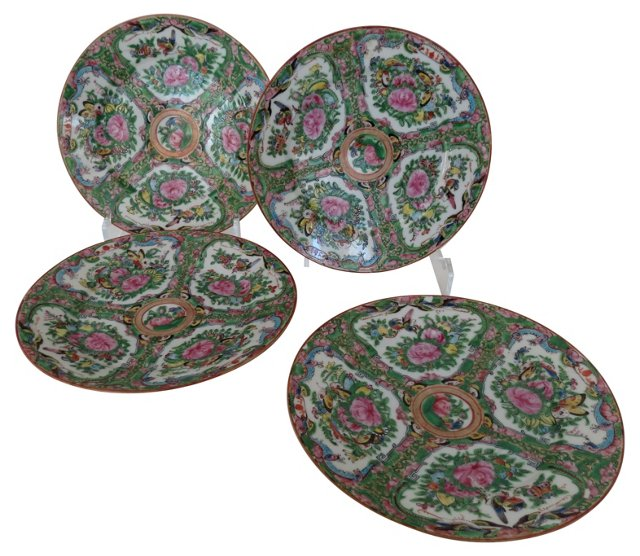 Rose Medallion Plates, S/4