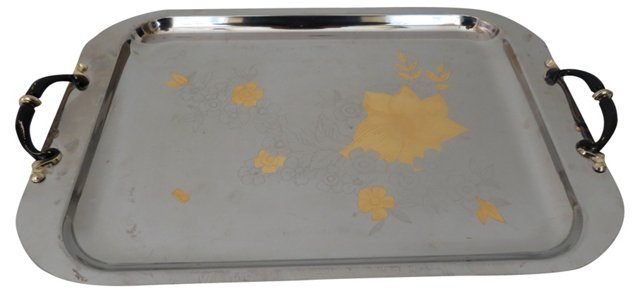 Italian Gold & Silver Floral Tray