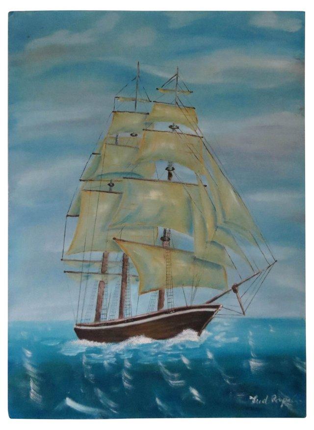 Clipper Ship w/ Blue Sky