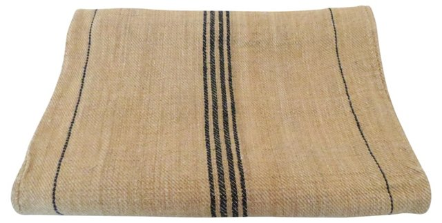 Blue-Striped French Linen Feed Sack