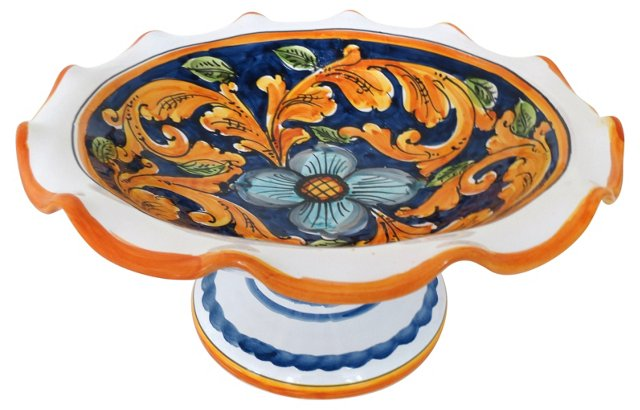 Hand-Painted Italian Compote