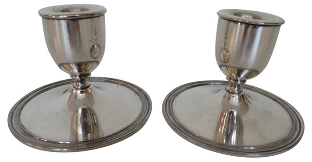 Silverplate Candleholders,   Pair