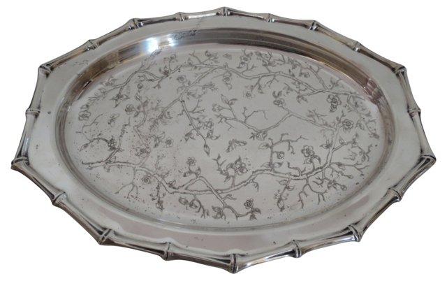 Bamboo-Design Silver Tray