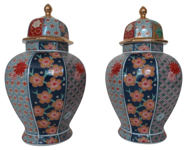 Imari-Style Porcelain Ginger Jars, Pair