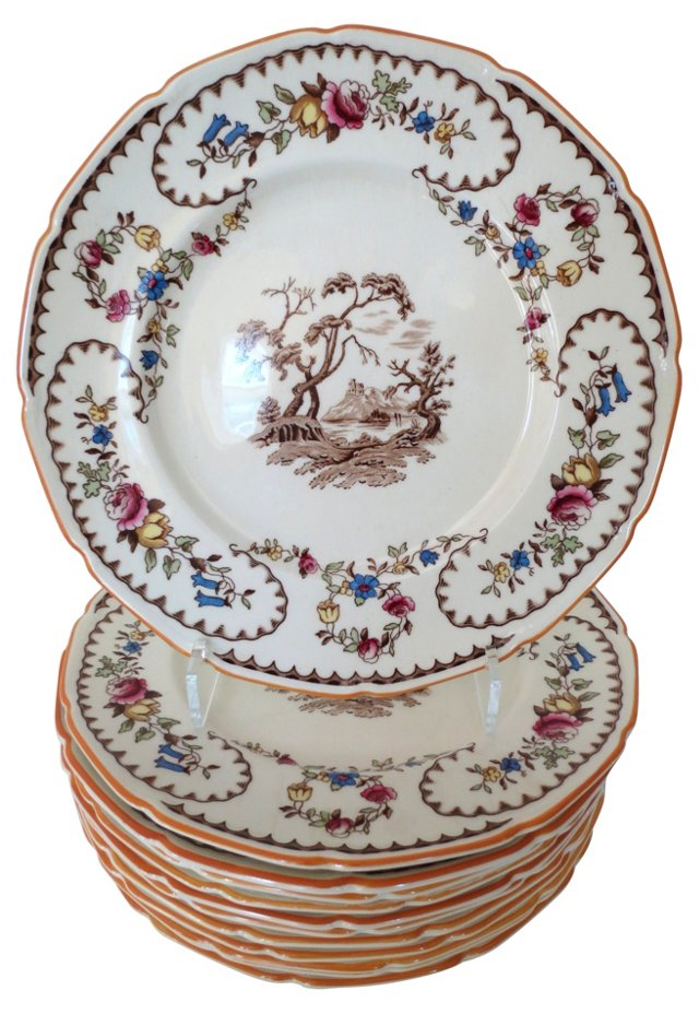 English Chinoiserie Dinner Plates, S/12