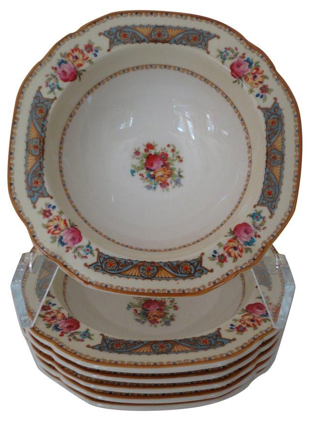 English Floral Soup Bowls, S/6