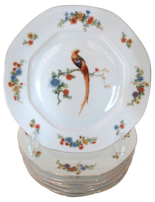 Peacock Porcelain Plates, S/8