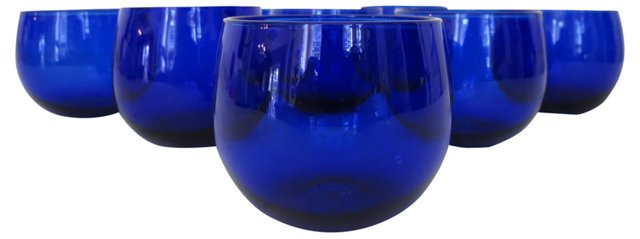 Roly Poly Cobalt Blue Glasses, S/8