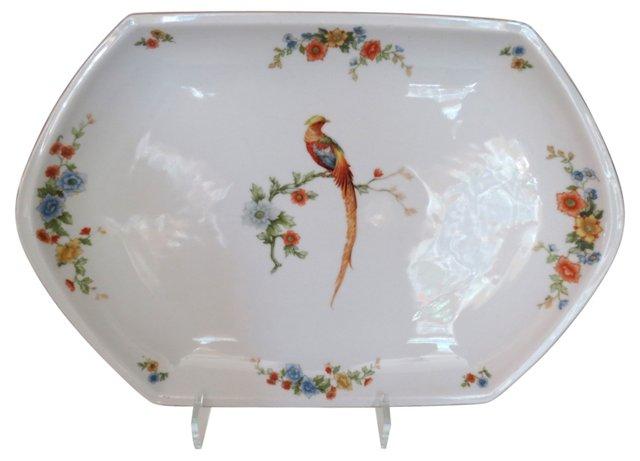 Floral Peacock Porcelain Platter