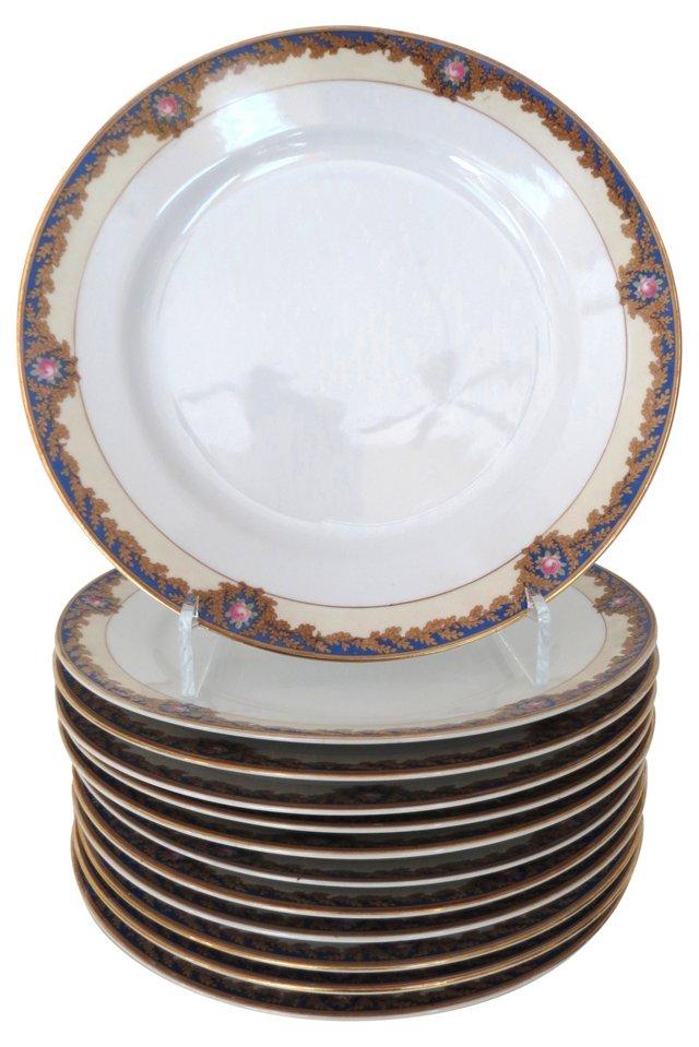 Rose & Cobalt Banded Dinner Plates, S/12