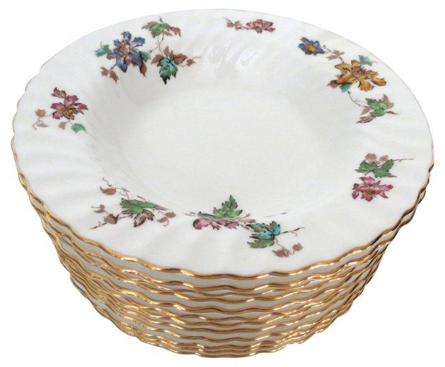 Minton Gilt Floral Dinner Bowls, S/12