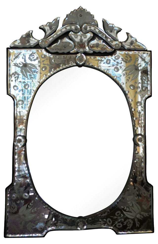 Etched Venetian Mirror w/ Pediment