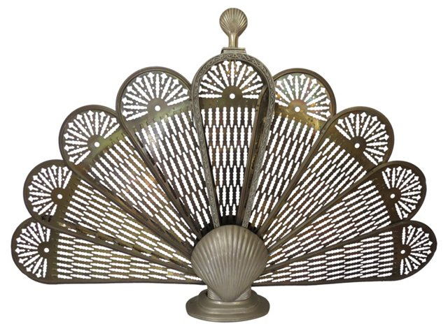 Brass Peacock Expandable Fire Screen