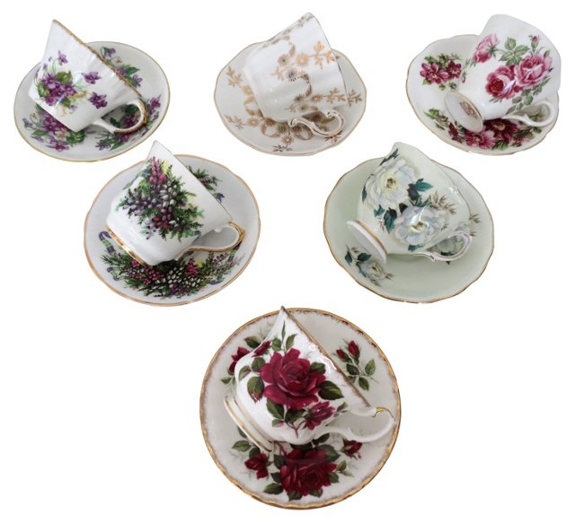 Mismatched English Cups & Saucers, S/6