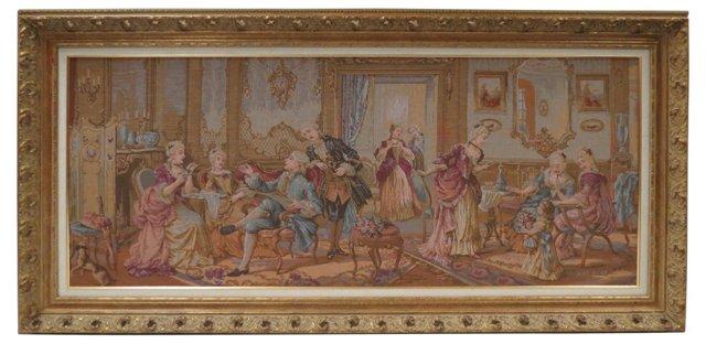 Framed French Tapestry w/ Interior Scene