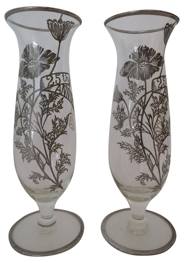 Silver Overlay Vases, Pair
