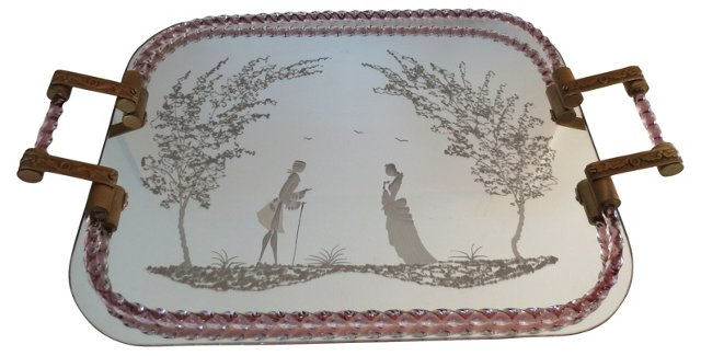Etched Venetian & Brass Tray