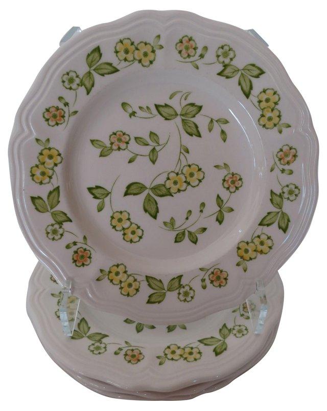 Ironstone Yellow & Green Plates, S/4