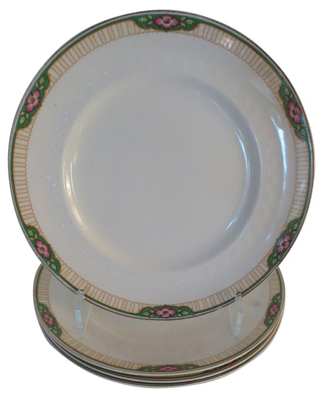 Pink & Green English Dinner Plates, S/4