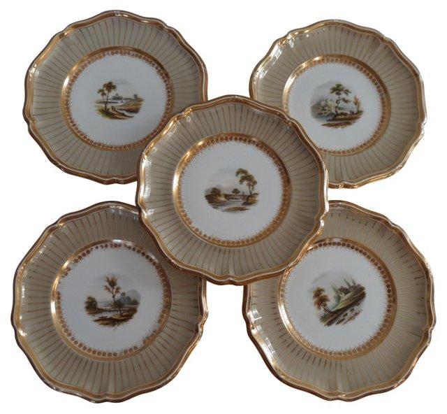 Antique Davenport Cabinet Plates, S/5