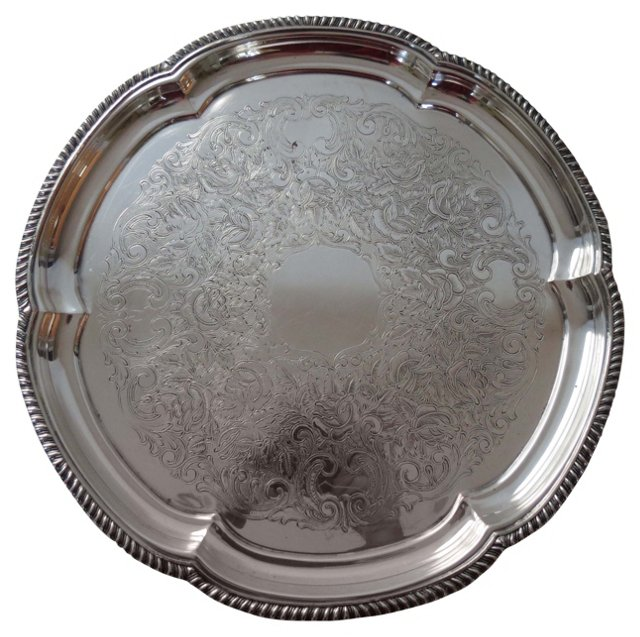 Flower-Filled Engraved Circular Tray