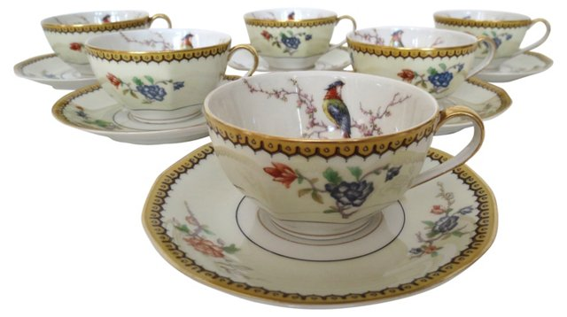 Limoges Peacock Cups & Saucers, S/6