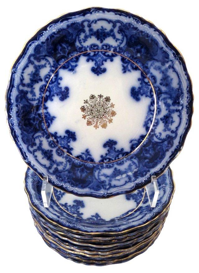 English Flow Blue Dinner Bowls, S/11