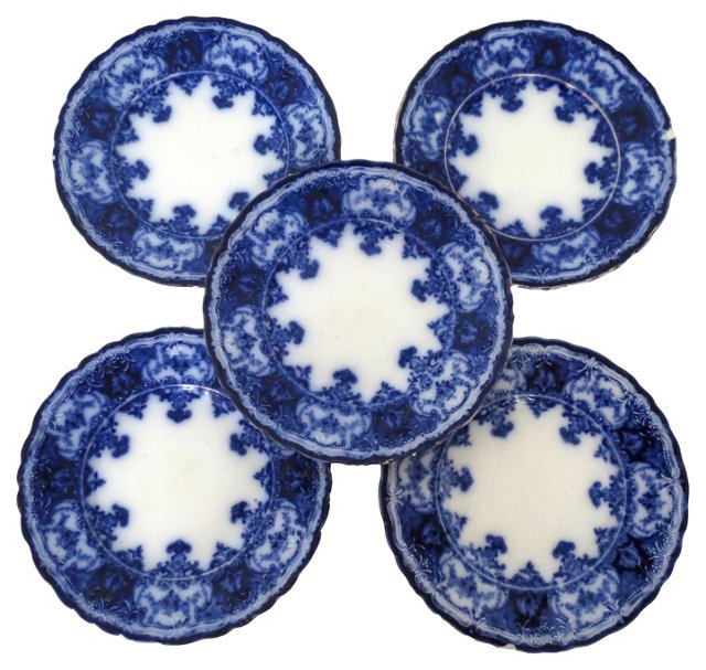 Antique Flow Blue Bread Plates, S/5