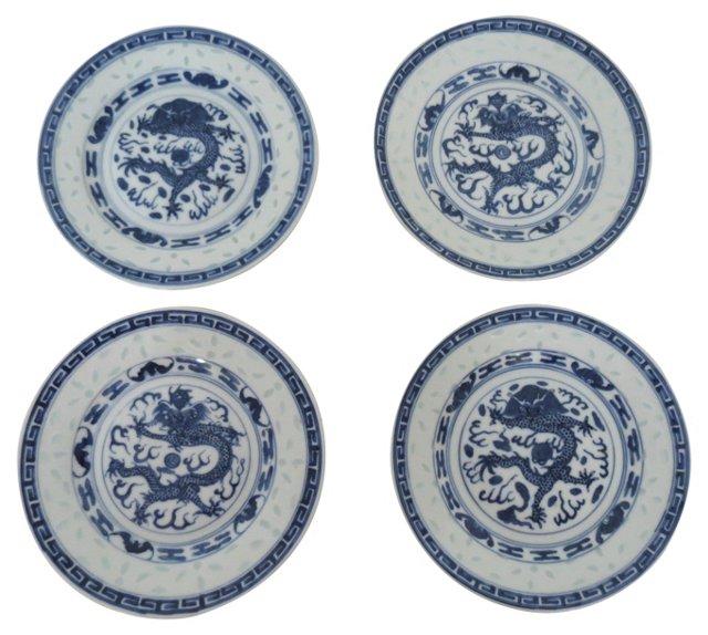 Rice Porcelain Plates, S/4