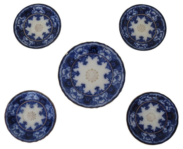 Flow Blue Wall Plates, S/5