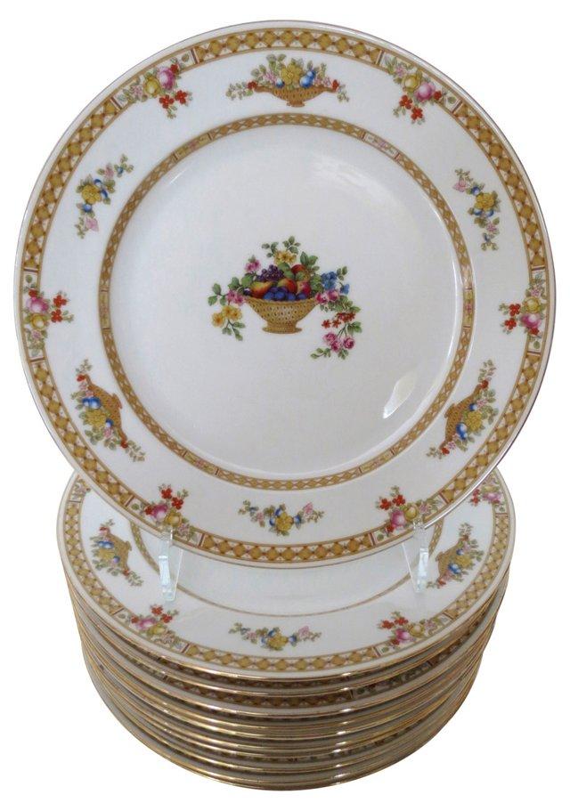 Gold Banded Dinner Plates, S/11