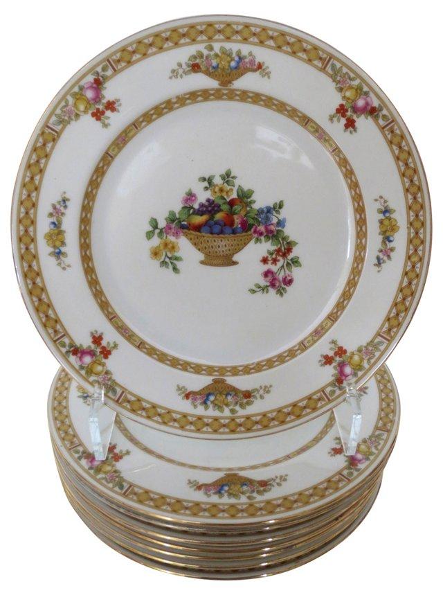 Porcelain Gold Banded Salad Plates, S/8