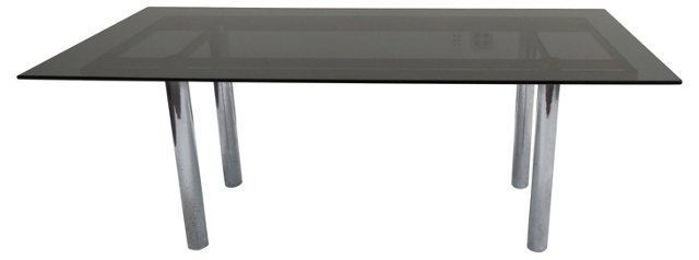 Knoll Chrome & Smoked Glass Dining Table