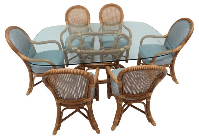 Twisted Rattan Table & 6 Armchairs