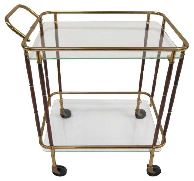 1960s Walnut & Brass Bar Cart