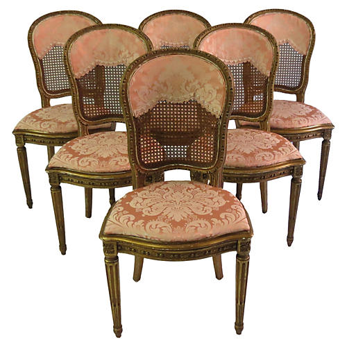 Antique French Gilt Cane Chairs, S/6