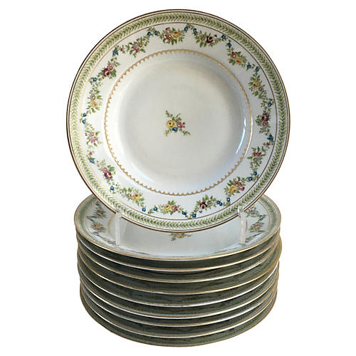 Antique French Dinner Bowls, S/10