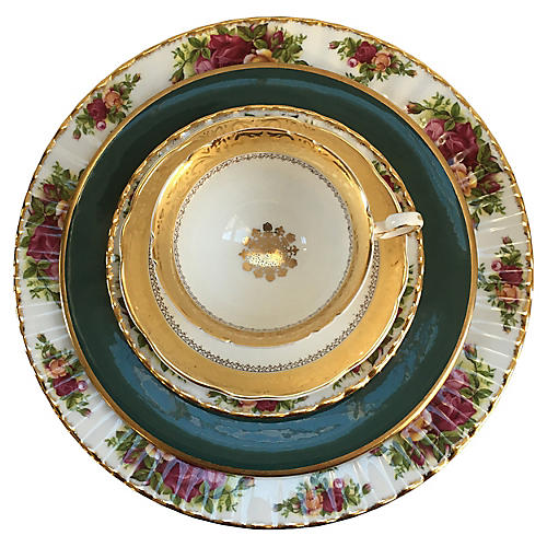 Mixed Pink & Green Place Setting, S/5