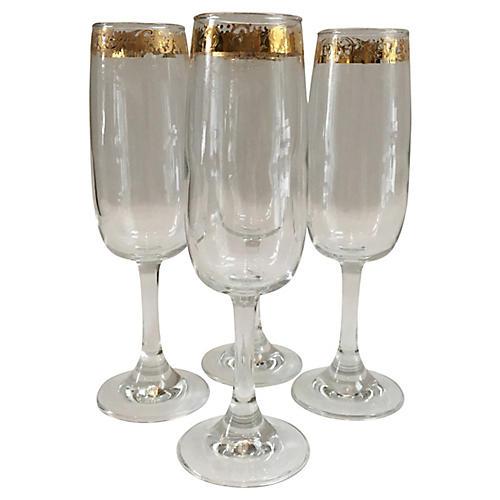 Gold-Banded Champagne Flutes, S/4