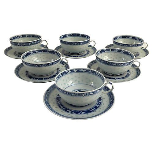 Asian Rice Porcelain Cups & Saucers, S/6