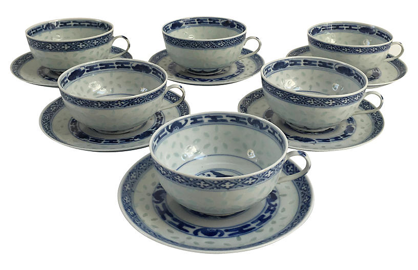 Asian Rice Porcelain Cups & Saucers, S/6