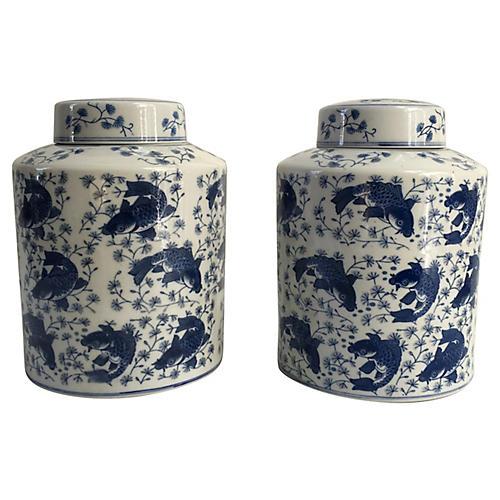 Chinese Porcelain Koi Ginger Jars, S/2