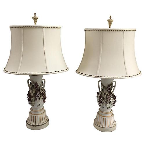 Italian Porcelain Table Lamps, S/2