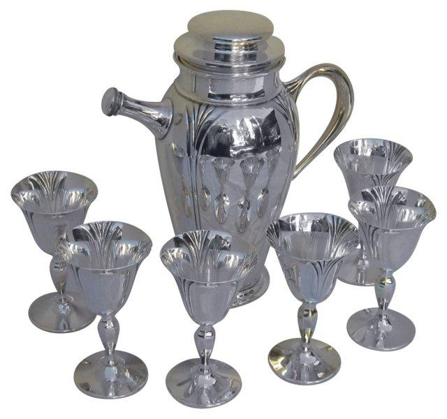 Art Deco Sterling Cocktail Set, 7 Pcs