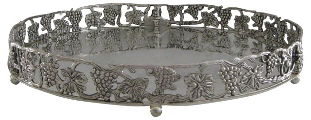 Silver Gallery Tray w/ Grapes