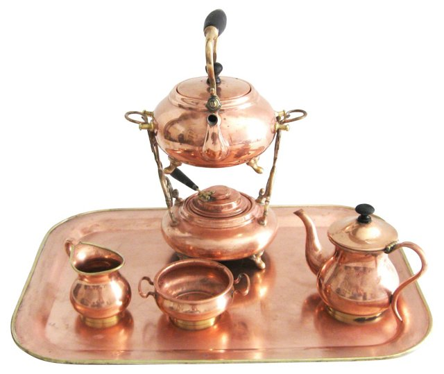 Turkish Copper Coffee Set, 6 Pcs