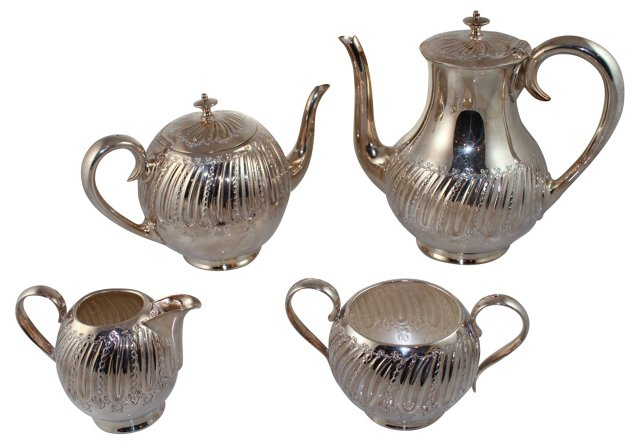 Round Fluted Tea & Coffee Service, 4 Pcs